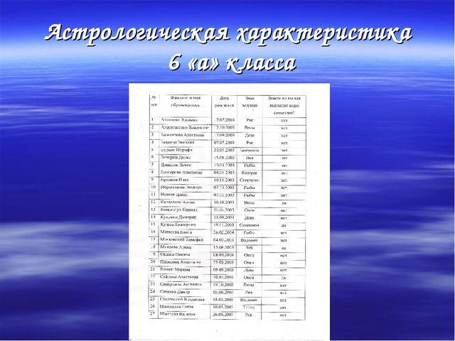 Астрологическая характеристика 6 «а» класса