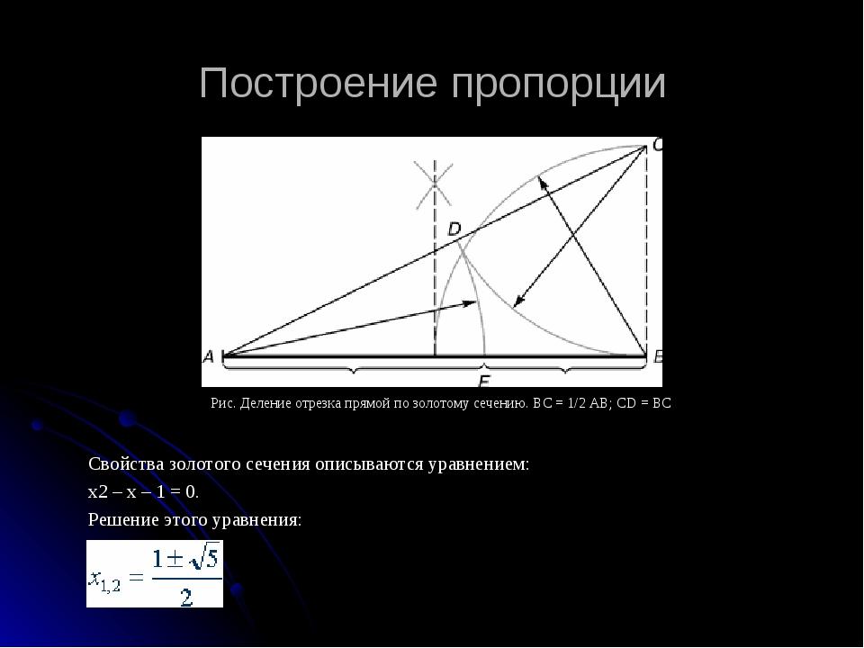 Построение пропорции Свойства золотого сечения описываются уравнением: x2 – x...