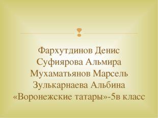Фархутдинов Денис Суфиярова Альмира Мухаматьянов Марсель Зулькарнаева Альбина