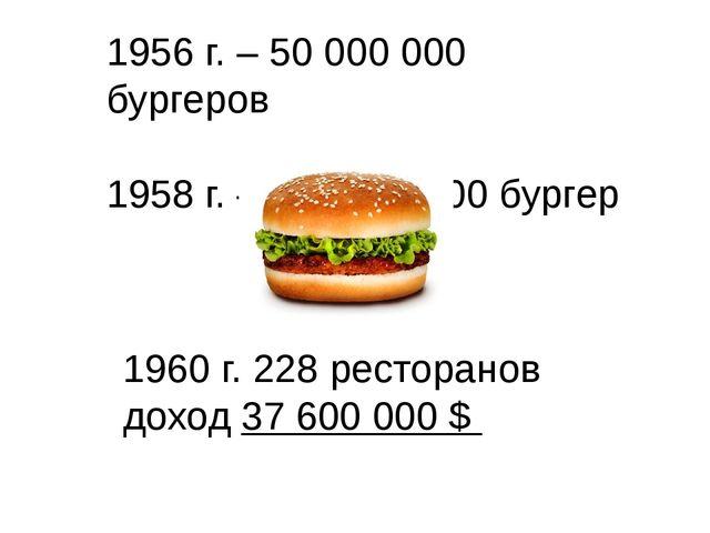 1956 г. – 50 000 000 бургеров 1958 г. – 100 000 000 бургер 1960 г. 228 рестор...