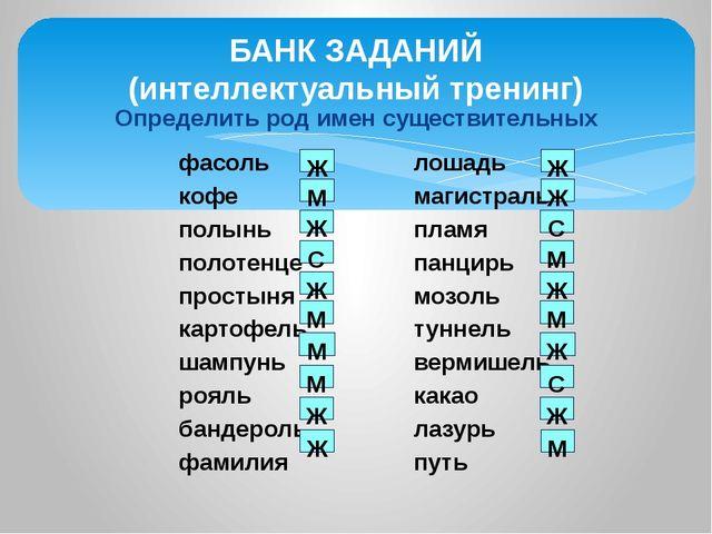Определить род имен существительных БАНК ЗАДАНИЙ (интеллектуальный тренинг) ф...