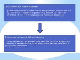 Цель создания электронной библиотеки: расширение современного электронного и