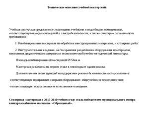 Техническое описание учебной мастерской: Учебная мастерская представлена след