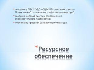 создание в ГБУ СОДО «ОЦЭКИТ» локального акта – Положения об организации профе