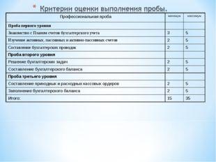 Профессиональная пробаминимуммаксимум Проба первого уровня Знакомство с П