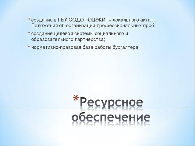 создание в ГБУ СОДО «ОЦЭКИТ» локального акта – Положения об организации профе...