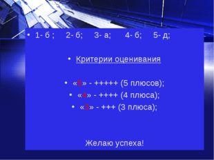 1- б ; 2- б; 3- а; 4- б; 5- д; Критерии оценивания «5» - +++++ (5 плюсов); «4