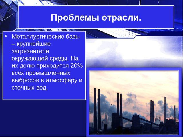 Проблемы отрасли. Металлургические базы – крупнейшие загрязнители окружающей...