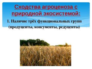 Сходства агроценоза с природной экосистемой: 1. Наличие трёх функциональных г