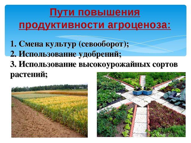 Пути повышения продуктивности агроценоза: 1. Смена культур (севооборот); 2. И...