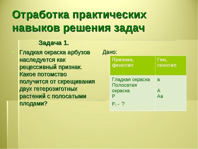 Отработка практических навыков решения задач Задача 1. Гладкая окраска арбузо...