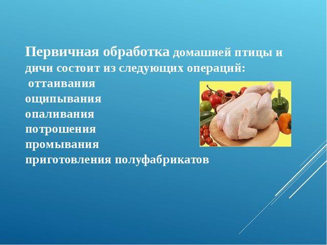 Первичная обработка домашней птицы и дичи состоит из следующих операций: отта...