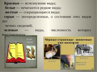Красные — исчезнувшие виды; белые — печатаются редкие виды; желтые — сокраща
