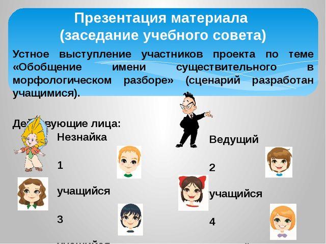 Презентация материала (заседание учебного совета) Устное выступление участник...