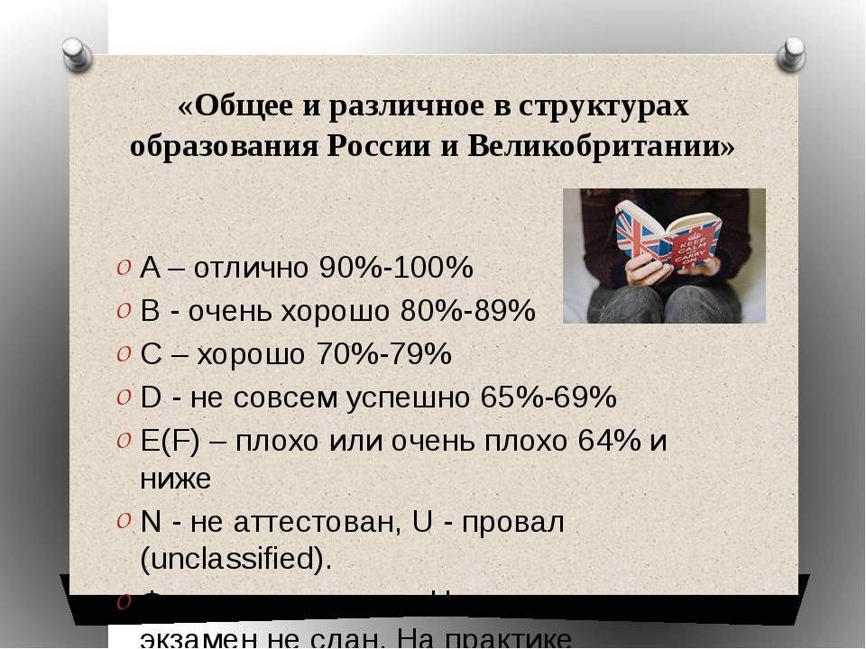 «Общее и различное в структурах образования России и Великобритании» A – отли...