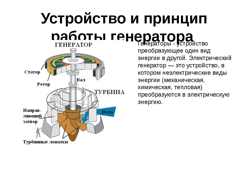 Устройство и принцип работы генератора Генераторы - устройство преобразующее...
