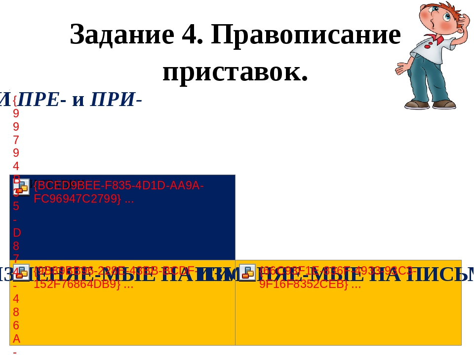 Задание 4. Правописание приставок.
