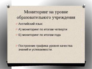 Мониторинг на уровне образовательного учреждения Английский язык: А) монитори