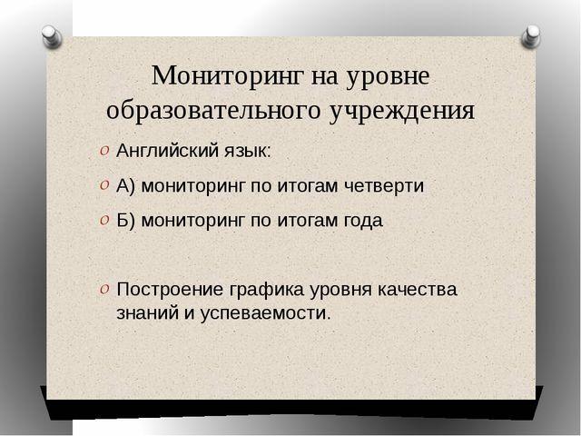 Мониторинг на уровне образовательного учреждения Английский язык: А) монитори...