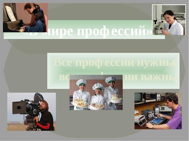 Все профессии нужны, все профессии важны «В мире профессий»