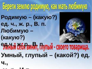 Родимую – (какую?) ед. ч., ж. р., В. п. Любимую – (какую?) ед.ч., ж. р., В. п