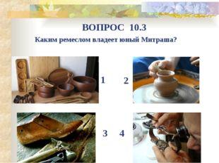 Каким ремеслом владеет юный Митраша? ВОПРОС 10.3 1 4 3 2