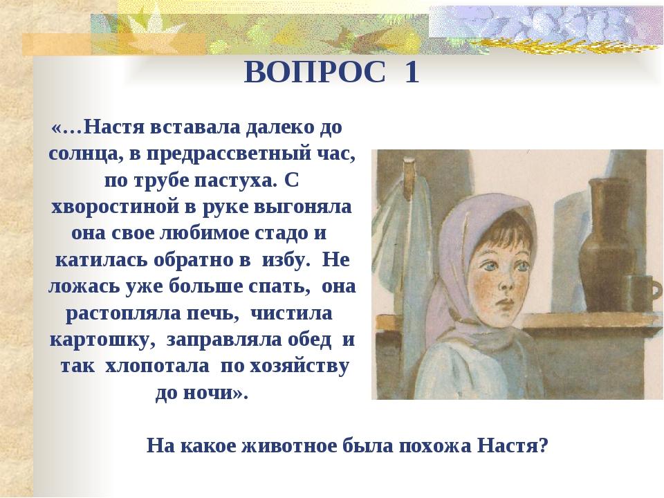 ВОПРОС 1 «…Настя вставала далеко до солнца, в предрассветный час, по трубе па...