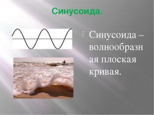 Синусоида. Синусоида – волнообразная плоская кривая.