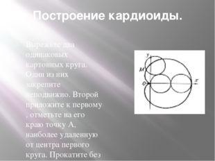 Построение кардиоиды. Вырежьте два одинаковых картонных круга. Один из них за