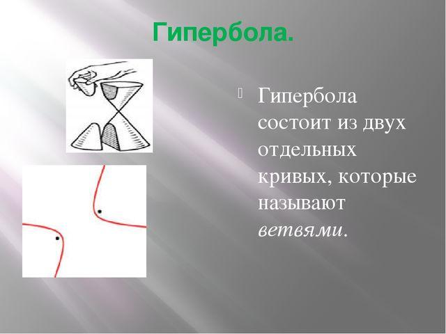 Гипербола. Гипербола состоит из двух отдельных кривых, которые называют ветвя...