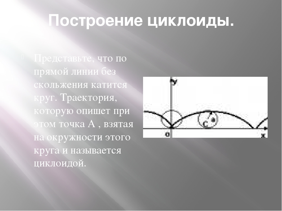 Построение циклоиды. Представьте, что по прямой линии без скольжения катится...