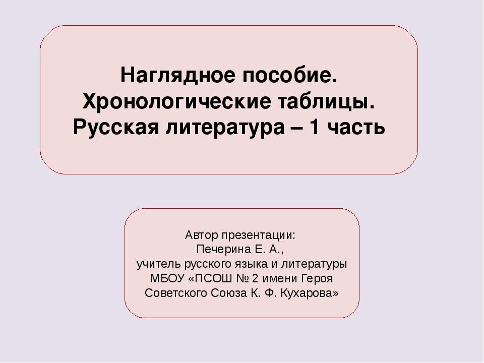 Наглядное пособие. Хронологические таблицы. Русская литература – 1 часть Авт...