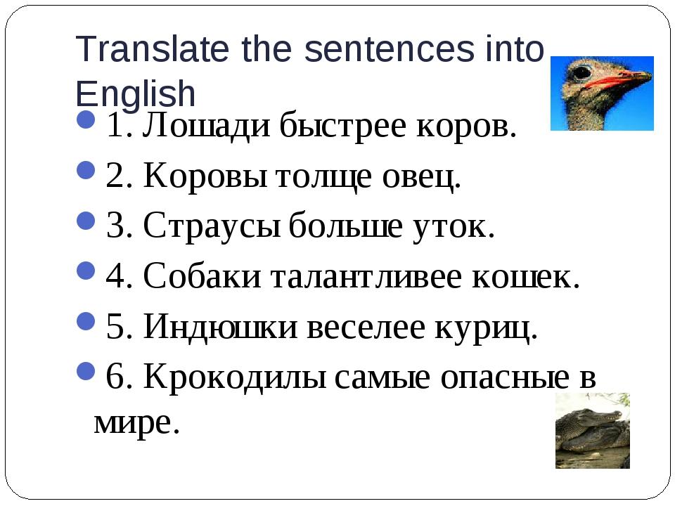 Translate the sentences into English 1. Лошади быстрее коров. 2. Коровы толще...