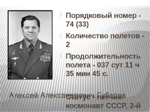 Алексей Александрович Губарев Порядковый номер - 74 (33) Количество полетов -