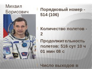 Михаил Борисович Корниенко Порядковый номер - 514 (106) Количество полетов -