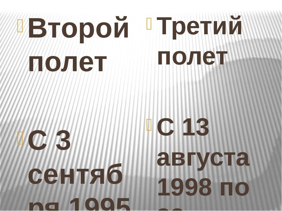 Второй полет С 3 сентября 1995 по 29 февраля 1996 года в качестве бортинжене...