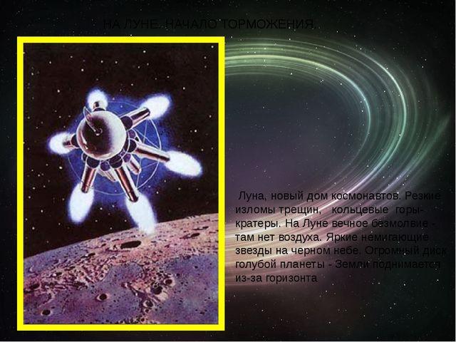 НА ЛУНЕ. НАЧАЛО ТОРМОЖЕНИЯ. Луна, новый дом космонавтов. Резкие изломы трещин...