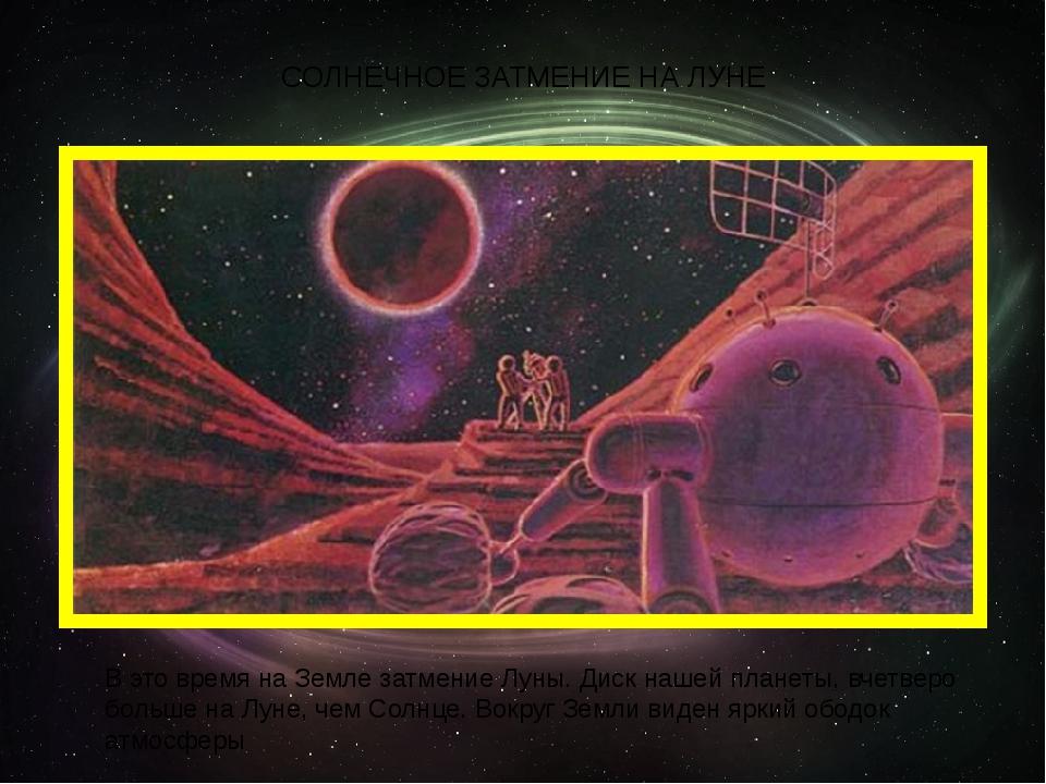 СОЛНЕЧНОЕ ЗАТМЕНИЕ НА ЛУНЕ В это время на Земле затмение Луны. Диск нашей пла...