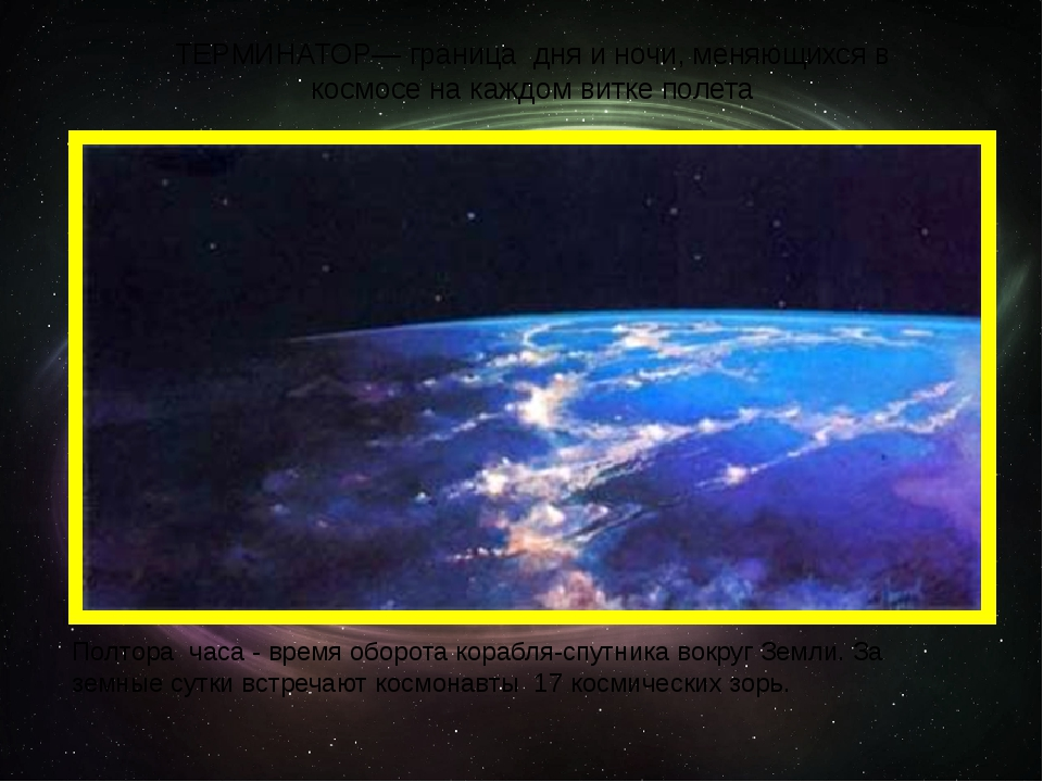 ТЕРМИНАТОР— граница дня и ночи, меняющихся в космосе на каждом витке полета П...