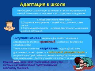 Адаптация к школе Процесс адаптации идет у всех детей, даже у тех, которые сч