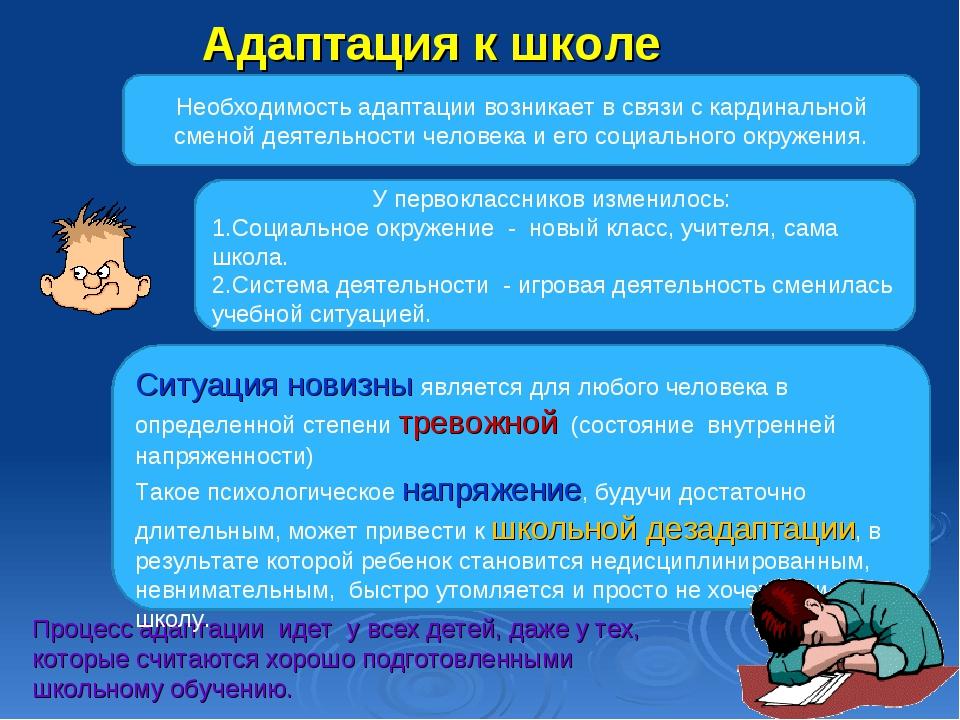Адаптация к школе Процесс адаптации идет у всех детей, даже у тех, которые сч...