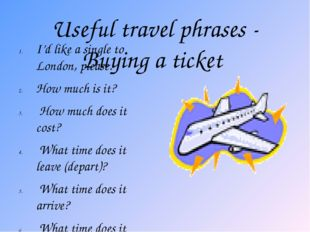 Useful travel phrases - Buying a ticket I'd like a single to London, please.