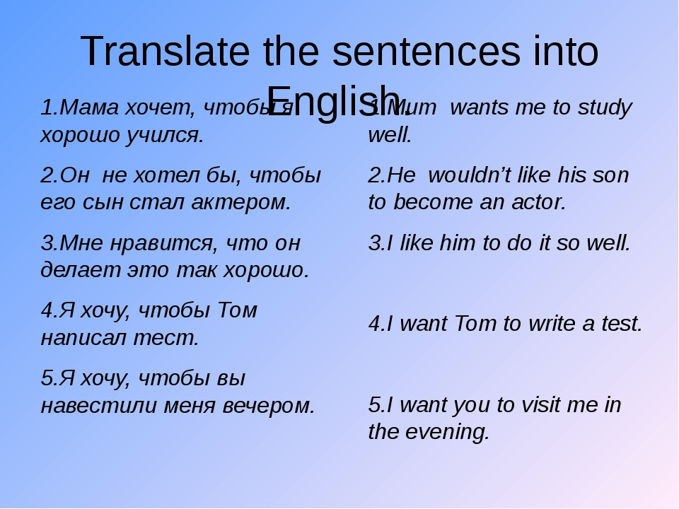 Translate the sentences into English. 1.Мама хочет, чтобы я хорошо учился. 2....