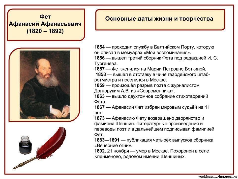Интересные фактыбиографии аа фета