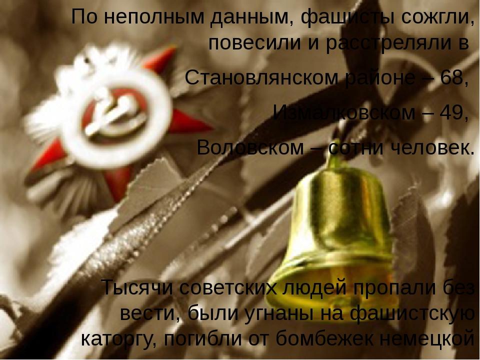 По неполным данным, фашисты сожгли, повесили и расстреляли в Становлянском ра...