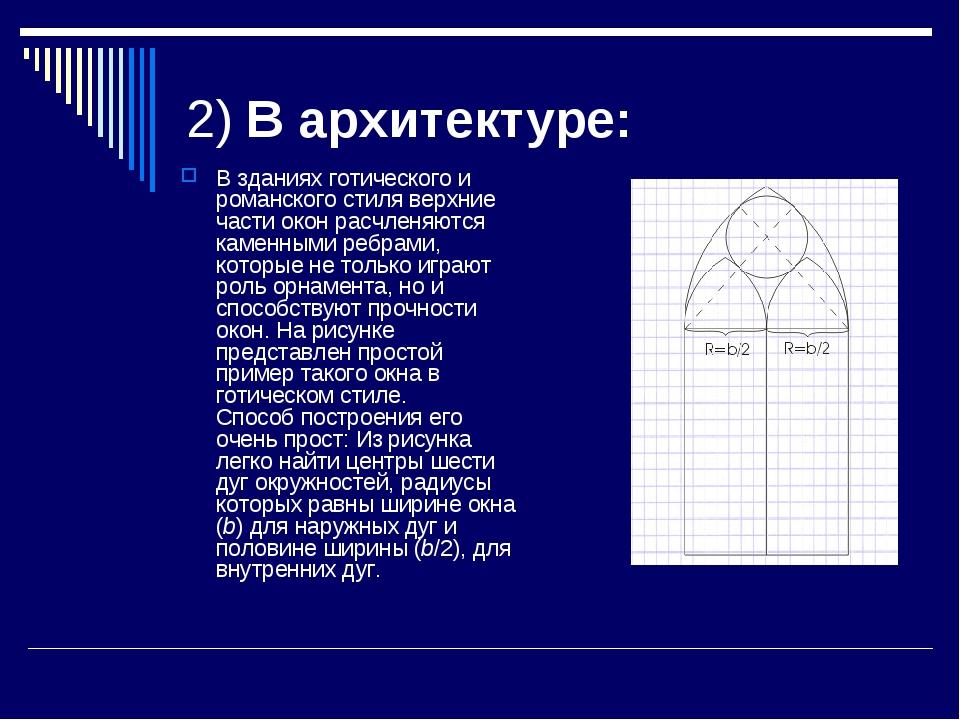 2) В архитектуре: В зданиях готического и ромaнского стиля верхние части окон...
