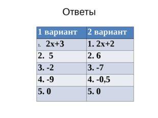 Ответы 1 вариант 2 вариант 2х+3 1. 2х+2 2. 5 2. 6 3.-2 3. -7 4.-9 4. -0,5 5.0