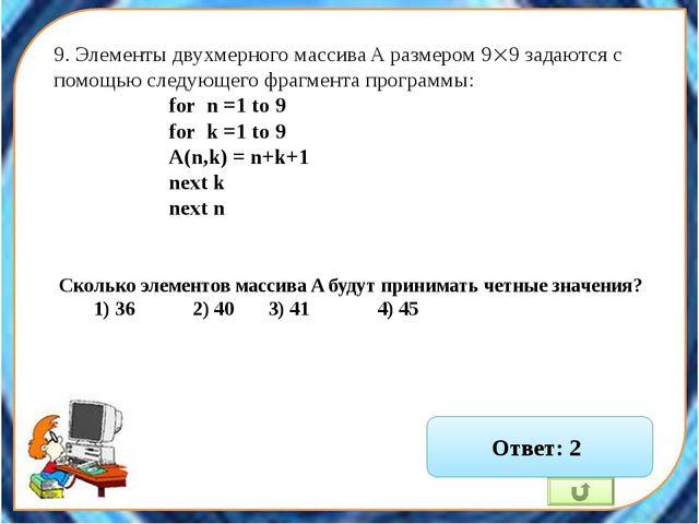 12. В программе обрабатывается двумерный целочисленный массив A (n,n). Первый...