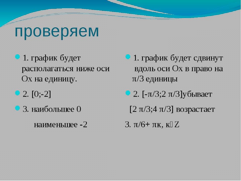 проверяем 1. график будет располагаться ниже оси Ох на единицу. 2. [0;-2] 3....
