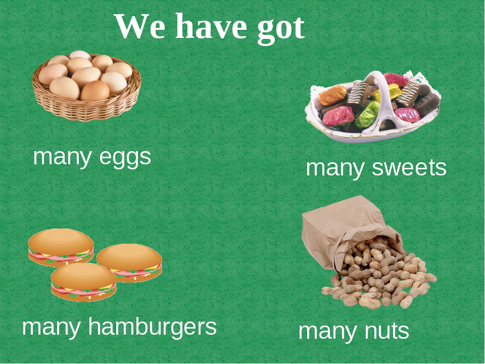 many eggs many sweets many hamburgers many nuts We have got